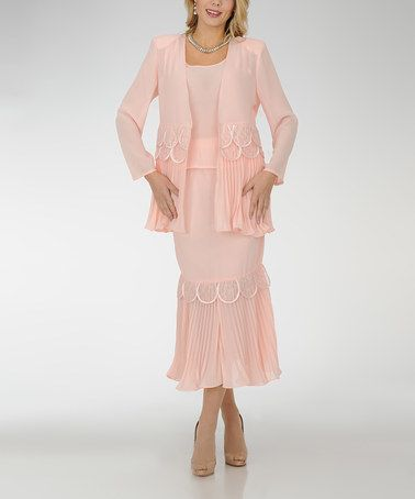 Love this Peach Scallop Skirt Suit - Women & Plus by Champagne Italy on #zulily! #zulilyfinds