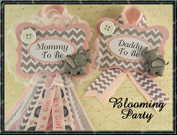 Pink Elephant Set Mommy To Be and Daddy To Be Corsage Elephant Baby Shower Corsage Elephant Mommy To Be Corsage                                                                                                                                                                                 More