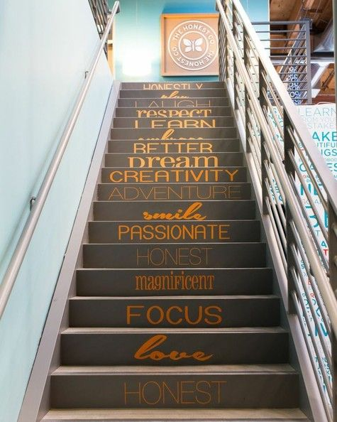 Love what Honest Co. did here on their stairs! Could be really cool in an office space or even home.