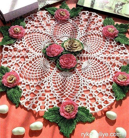 """Mania do Crochê"": toalhinha de croche - pattern in russian, but looks like it would be fairly easy to reproduce a similar doily."