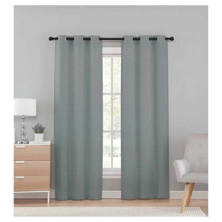 "Marcus Pleated Solid Semi Window Sheer Gray (38""x96"") - Vcny Home, Grey"