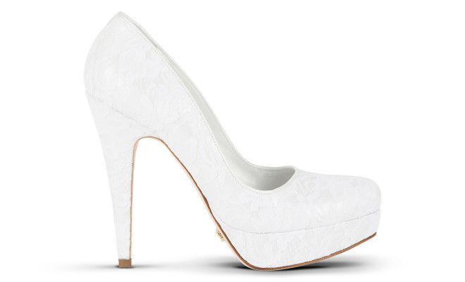 scarpe da sposa in nappa e pizzo bianco