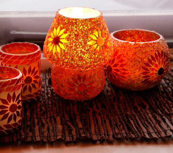 Tafellamp Indiaas design met beads & turkish design, model: paddenstoel.