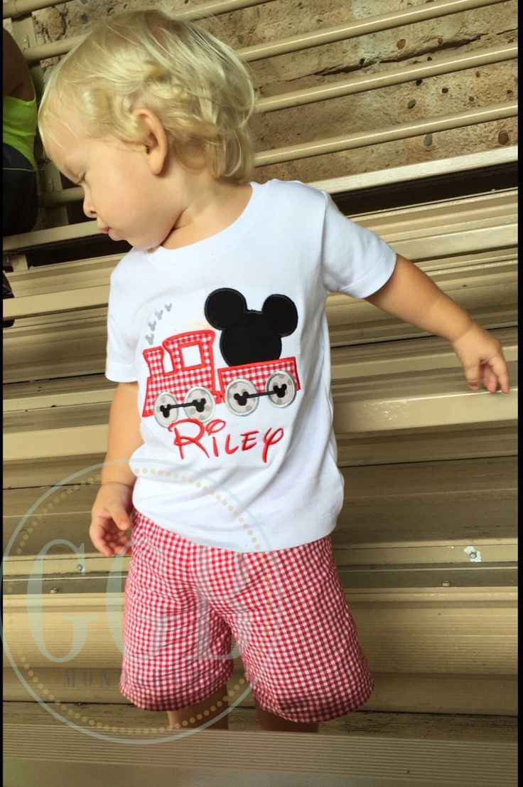 Little boys mickey mouse train birthday tshirt and matching shorts by Gigibabies, outfit by gigibabies on Etsy https://www.etsy.com/listing/472645910/little-boys-mickey-mouse-train-birthday