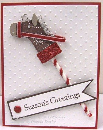 stocking punch DIY card Horse Christmas card Stampin up. Forget the card. Make the horse as a decoration to slip over candy canes for the tree!