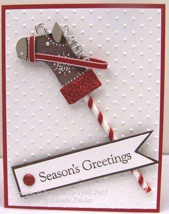 stocking punch DIY card Horse Christmas card Stampin up