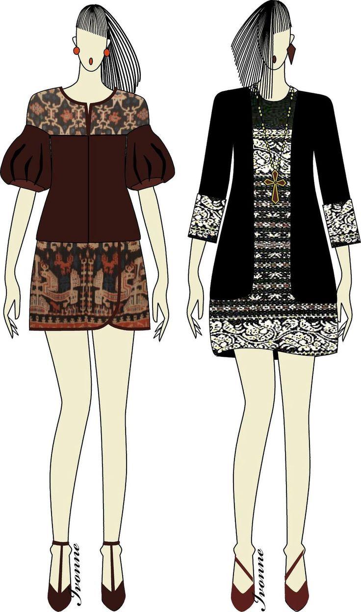 Ikat dress sketch