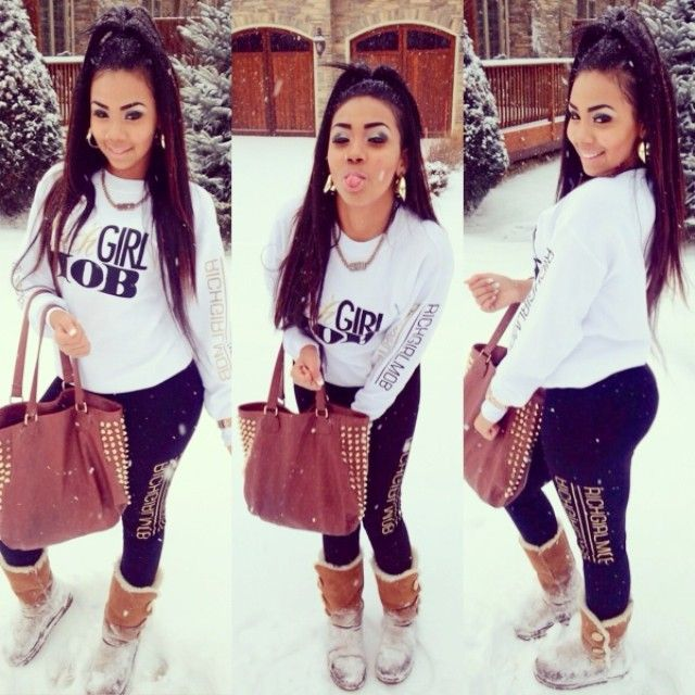 Cool girl street style casual sweatshirt joggers uggs Updo makeup purse