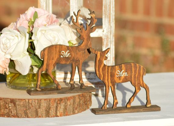 deer wedding mr and mrs table signs buck and by RedHeartCreations
