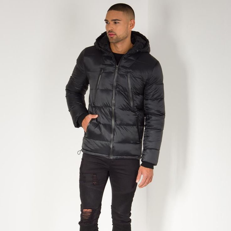 Quilted Puffer Coat - Black/Tan