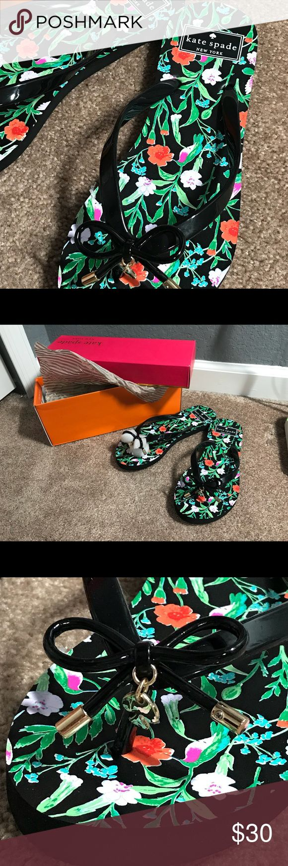 Kate Spade New York Nova Black Floral Flip Flop Brand new, in box, never worn Kate Spade New York flip flops. They are black with a floral print and tiny bows. kate spade Shoes Sandals