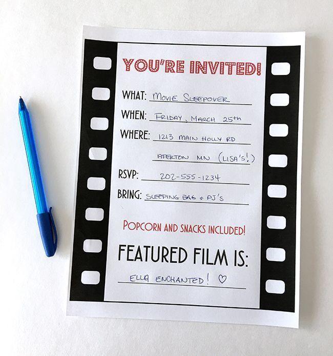 free movie birthday party invitations printable