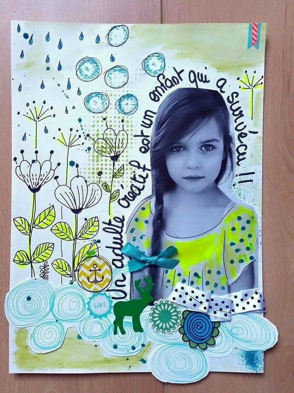 positive journal : sem 03 : laisser parler sont âme d'enfant ... art journal, scrapbooking