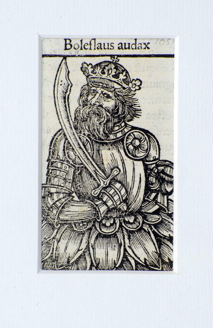 """Bolesław Szczodry - drzeworyt z książki Macieja z Miechowa:                      """"Chronica Polonorum"""" (Kronika Polska), 1521 r."""
