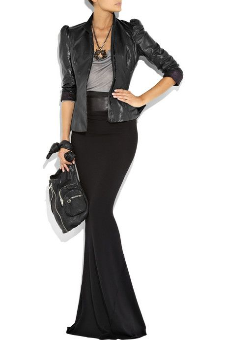 Maxi and leather jacket Bess Queen of Hearts Leather Jacket