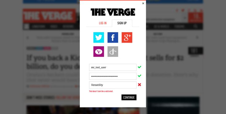 The Verge: Sign Up: Invalid Email