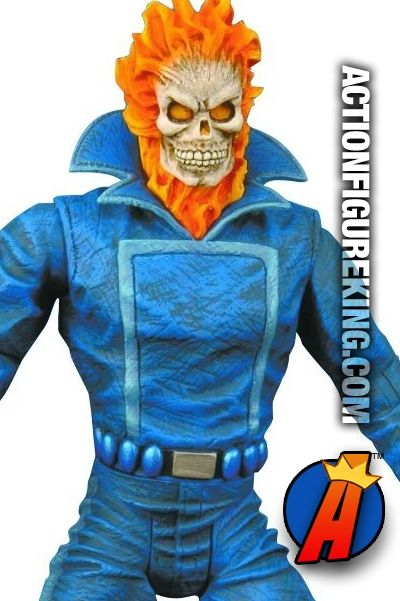 While not as articulated as some of the other Marvel Select figures from this line, Ghost Rider is still an awesome addition to any collection. Taking its lead from the Original Ghost Rider Johnny, Blaze, this figure stands about 7-inches tall and is clad in Johnny's signature blue jacket with high collar, blue pants, and flaming skull. Packaging artwork features a vintage Ghost Rider cover along with imagery from the Nicholas Cage film of the same name. #ghostrider #actionfigure…