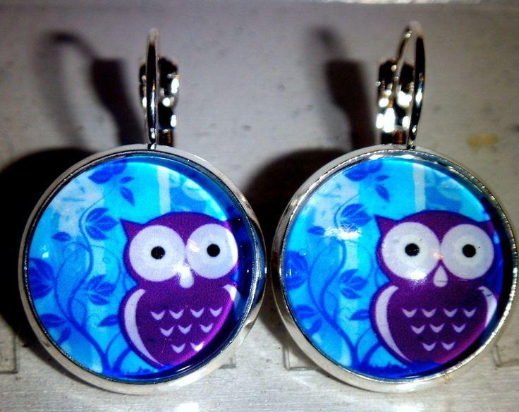 Ohrringe - Ohrringe Eule Tier blau Damen Glas - ein Designerstück von ausgefallene-Ohrringe bei DaWanda