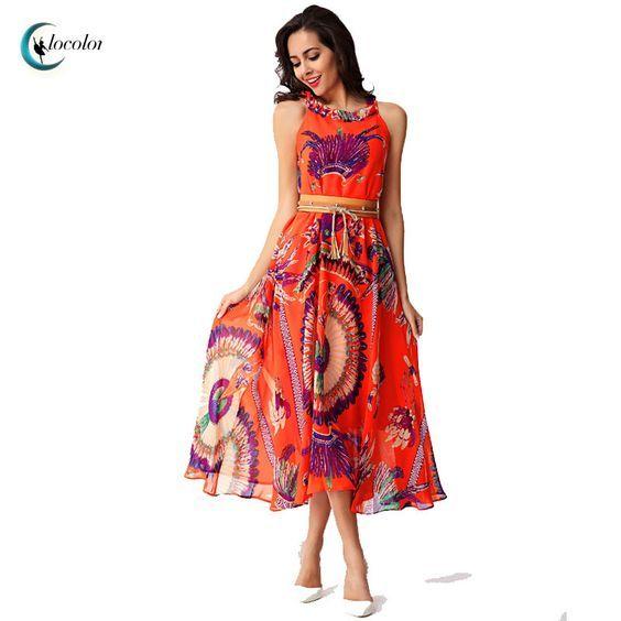Clocolor maxi Orange dress summer Print Bohemian European Sundress Women Floral long beach dress Sleeveless Summer maxi dress