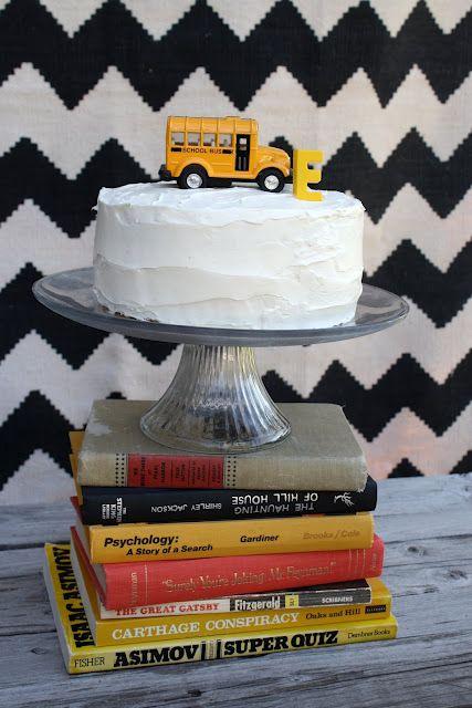 school bus party theme cake