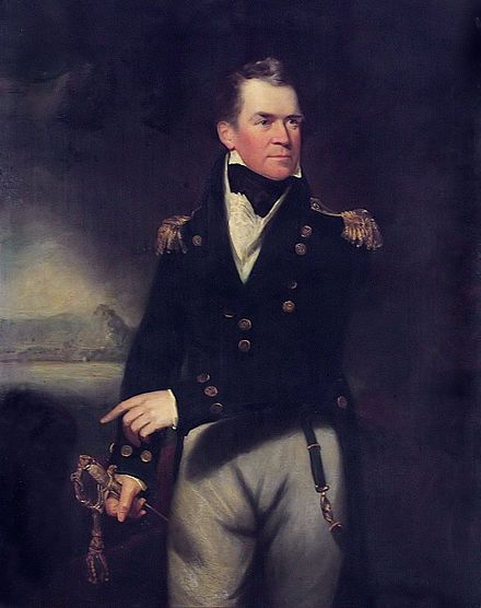 Portrait by William Beechey - Sir George Ralph Collier, 1st Baronet (1774 – 1824) was an officer of the Royal Navy during the French Revolutionary & Napoleonic Wars, & the War of 1812. He had an eventful early life, being shipwrecked early in his career & later captured by the French. He came close to capturing the USS Constitution, but lost her in circumstances that were unclear & would later return to haunt him.