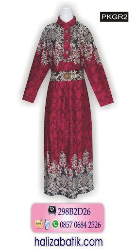 Gamis batik modern. Batik muslim bahan rayon. Model gamis batik terbaru model lengan panjang, kerah sanghai. Warna dasar merah. Order via SMS 085706842526