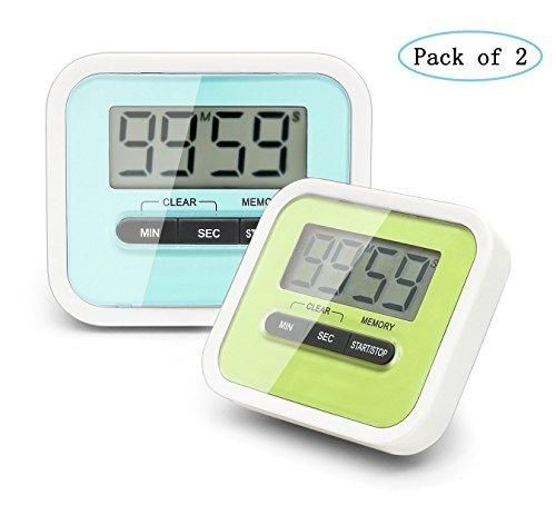 Digital Kitchen Timer PJS-MAX Cooking Timer Clock with Loud Alarm Magnetic Back and Retractable Stand Minute Second Countdown Clear LCD Display (Pack of 2Blue and Green)