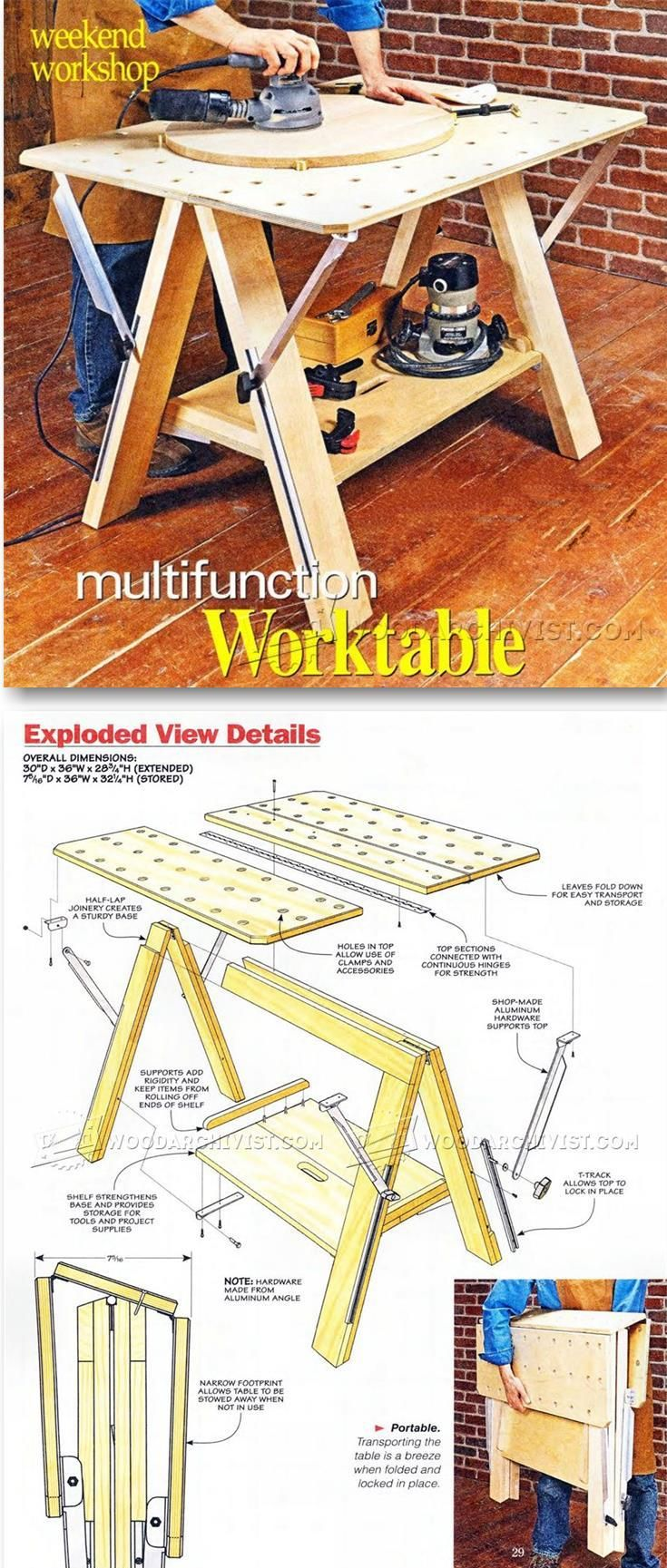 Folding Work Table Plans   Workshop Solutions Projects, Tips And Tricks |  WoodArchivist.com