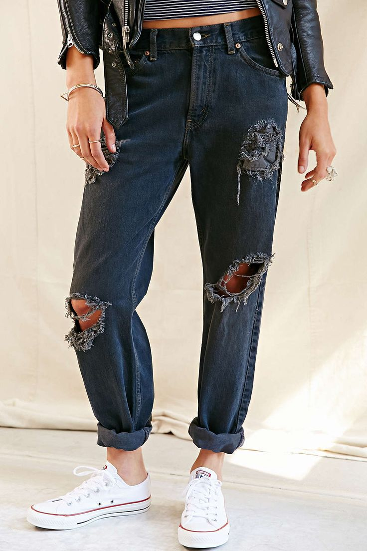 Urban Renewal Vintage Overdyed Destroyed Levis 501 Black Jean - Urban Outfitters