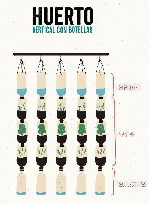Huerto vertical con botellas.