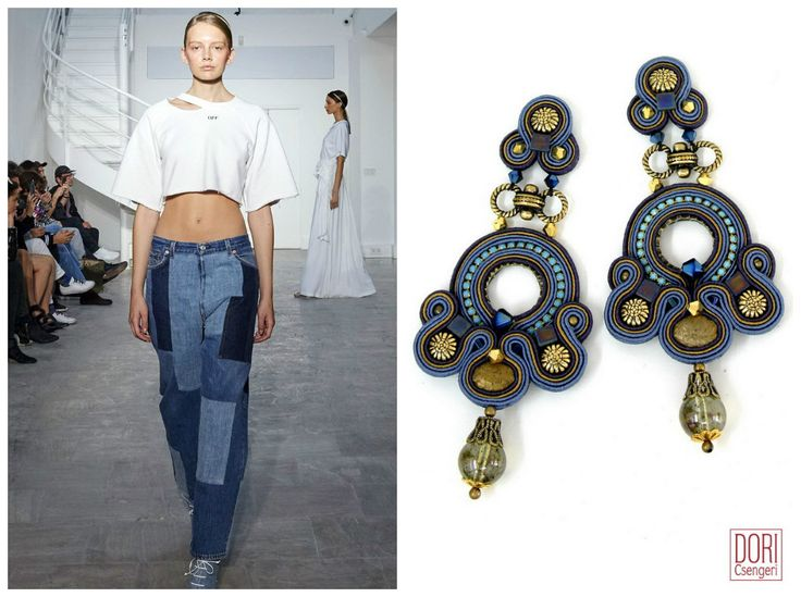 Spring's jeans got a major upgrade with embellishments such as prints, embroidery, patches and graphic stitches.  #DoriCsengeri #denim #jeans #springtrends #longearrings #shoulderdusters