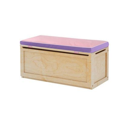 Maxtrix Kids Toy Storage Box with Seat Pad Finish: Natural, Seat Pad Color: Purple/Pink