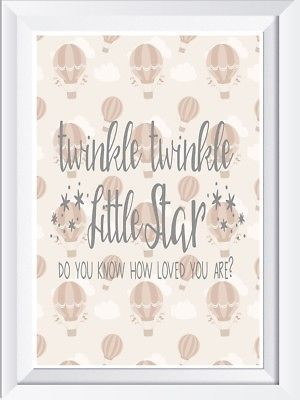 Twinkle Twinkle Hotair Balloon word art print picture baby child quote wall art