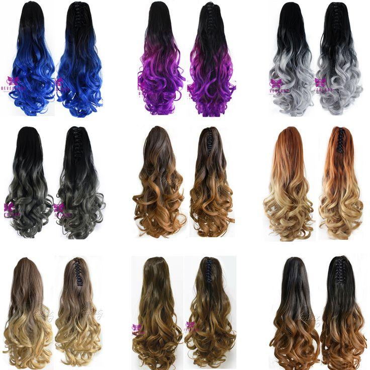 """Nieuwste 20 """"Clip Op Hair Extensions Claw Pony Tail Synthetisch Haarstukje Krullend Golvend Ombre Kleur Two Tone Paardenstaart Haar Staart B40"""
