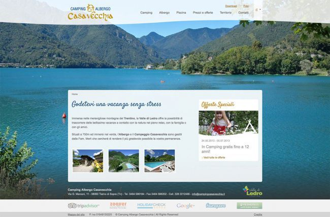 New Fullscrean website for Camping Albergo Casavecchia in The Ledro Valley.  See the website www.campingcasavecchia.it
