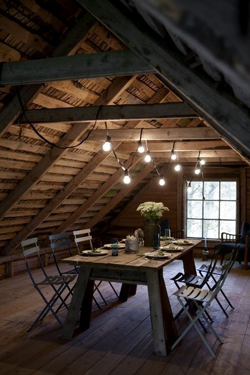 Wooden attic dining table and chairs - via www.murraymitchell.com