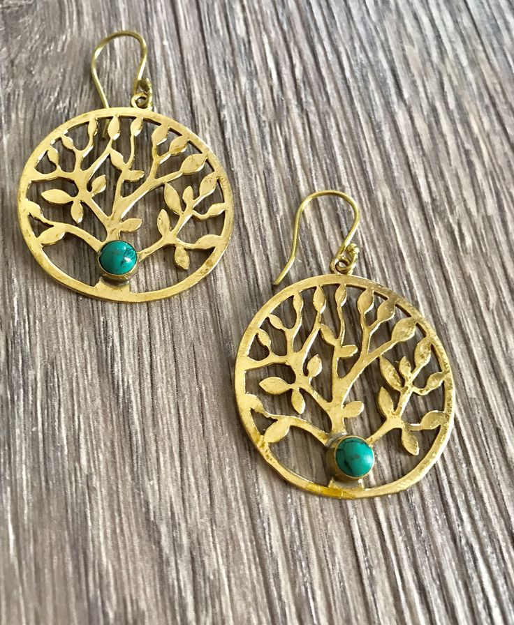A personal favourite from my Etsy shop https://www.etsy.com/au/listing/563855503/brass-turquoise-earrings-hoop-tree-of