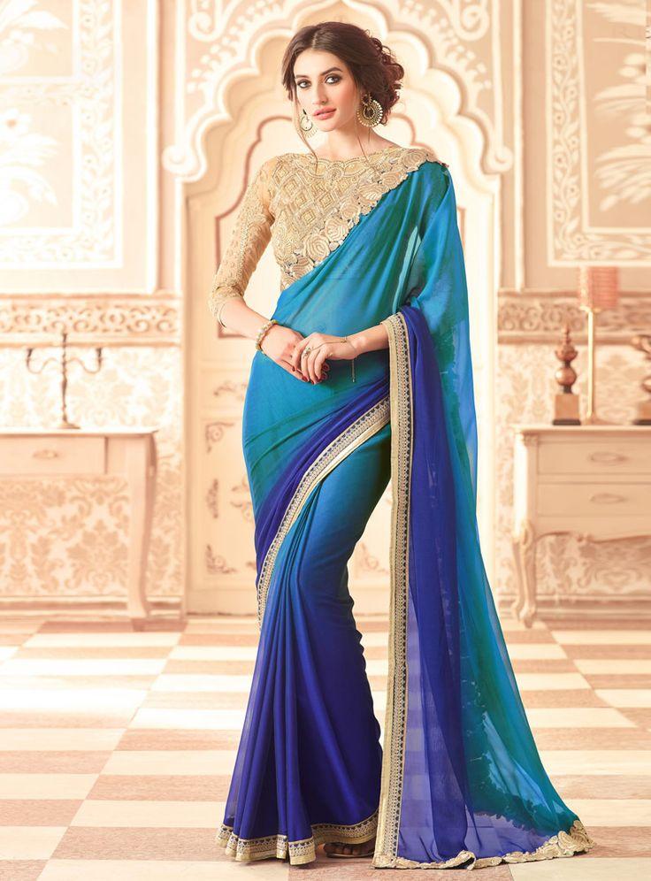 Blue Chiffon Saree With Heavy Blouse 89628