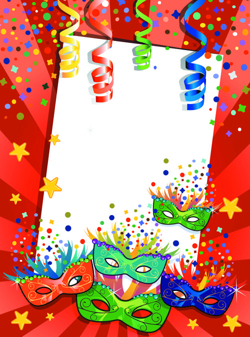 Carnival night background with mask vector 01 free