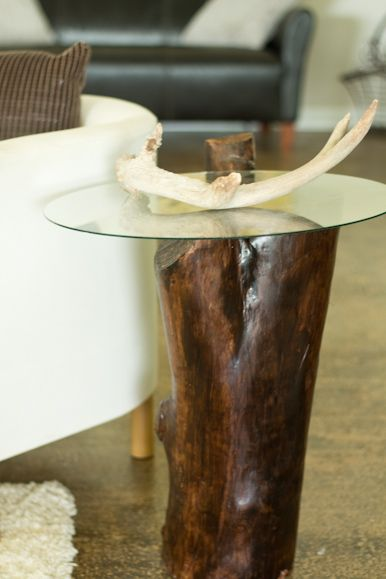 DIY Tree Stump Table made from an old tree stump and plexiglass.