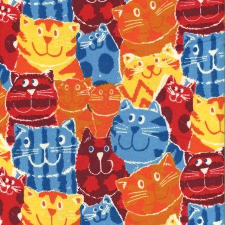 Printed Flannelette - Cats - Orange/Blue