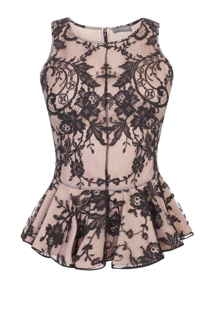 Floral Lace Ruffle Detail Top  black floral lace over flesh silk sleeveless top  Alexander McQueen