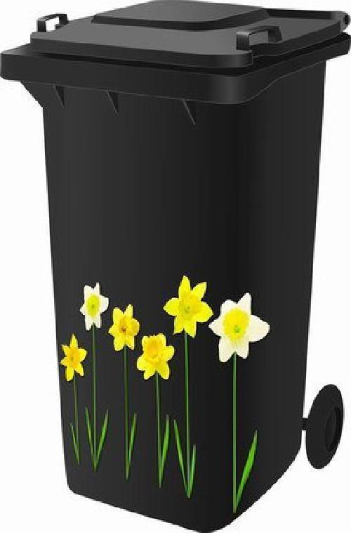 Wheelie Bin Stickers Self Adhesive Sticker Kit Daffodil Design #HomeDecor
