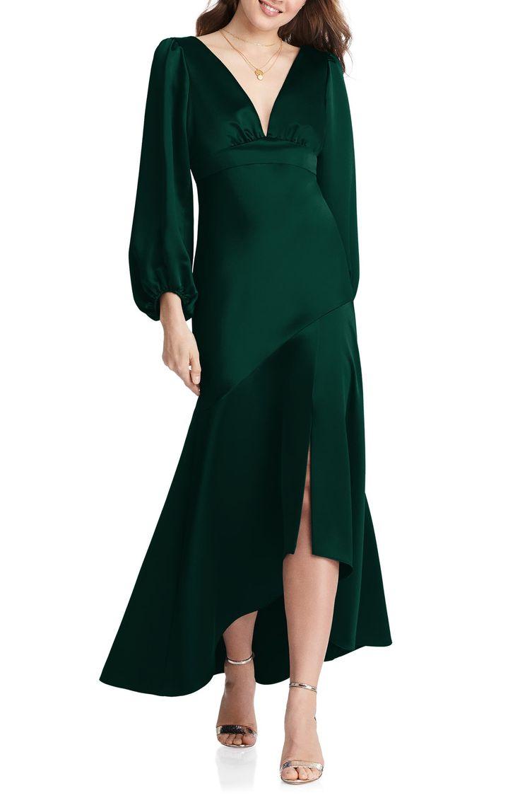 Lovely Teagan Long Sleeve Charmeuse High Low Dress Nordstrom In 2021 Long Sleeve Bridesmaid Dress Green Long Sleeve Dress Dresses [ 1128 x 736 Pixel ]