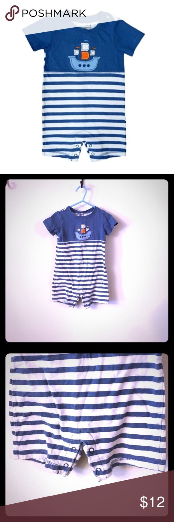 "First Impressions sleeveless nautical romper 24M  Same day shipping (excluding Sun/holidays or orders placed after P.O. Closed) ❤️ Add all of your likes to a bundle and make me an offer!  This adorable Romper is nautical themed with snap crotch closure for easy diaper changes. It is 100% cotton. The brand is ""First Impressions"". Blue and white stripes with a sailboat embroidered design. Loose fitting in the legs to allow your little one to move comfortably. See close up photo of 2 very small…"