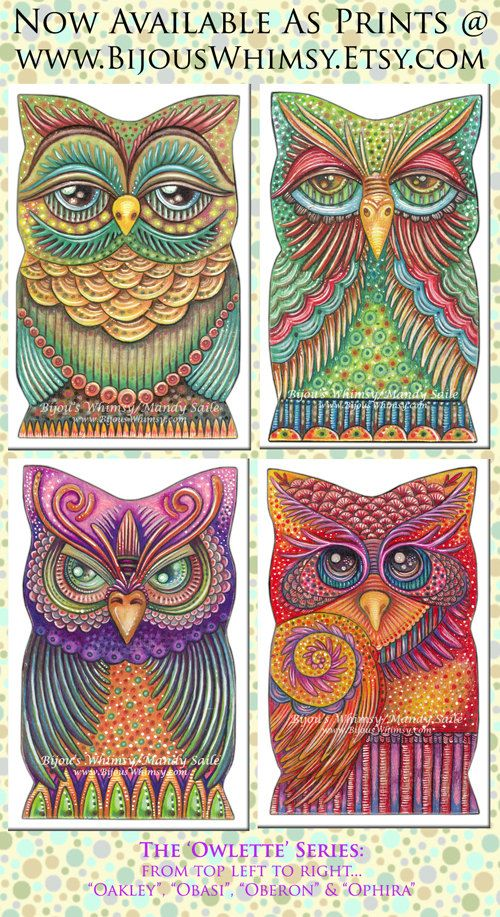 Owlette OPHIRA PRINT 8 x 10 by Mandy Saile by BijousWhimsy  ##ZentangleDesign  #art  ......... EVERYTHING in this shop is amazing!