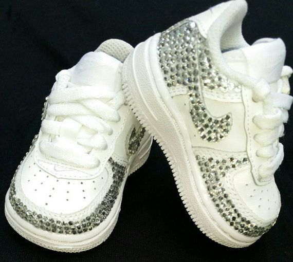 Bling Nike Air Force Ones- Size 2C pictured- Infant/ Toddler/Kid Sizes Available- Boys- Girls- Customizable- New Baby Gift- Baby Shower Gift