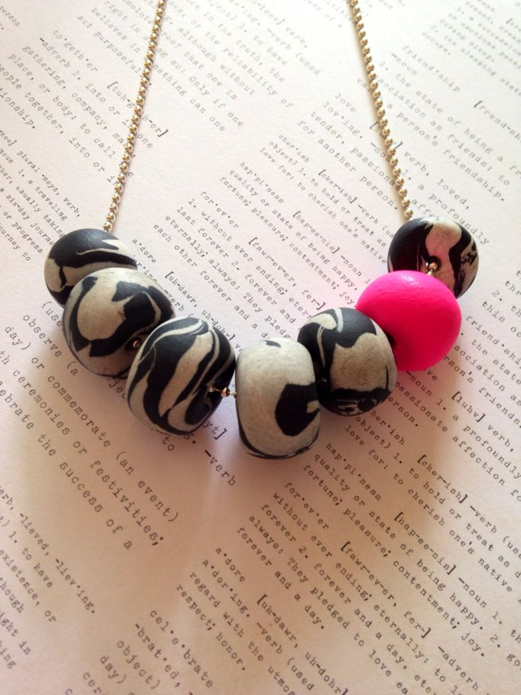 Colour Pop Marble Necklace - Hot Pink on silver ball chain. $30