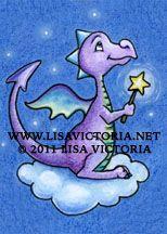 Dragon art, art print, nursery art, nursery artwork, cute dragon, fine art print, friendly dragon, dragon, star, cloud, Lisa Victoria, fantasy, fantasy art, fairies, fairy tale, greeting card, magnet, children's decor, kid's wall art