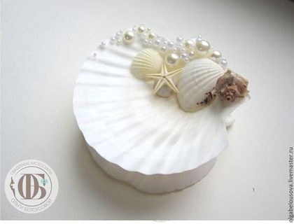 Подставка для колец в морском стиле - белый,свадьба в морском стиле,морская тематика